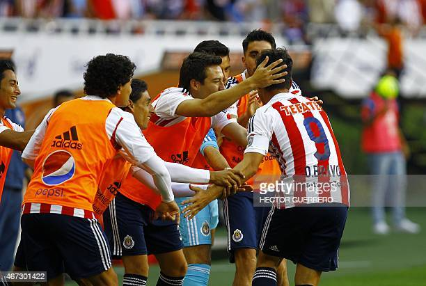 c222435224c Omar Bravo and Chivas players celebrates after score during their Mexican  Clausura 2015 tournament football match