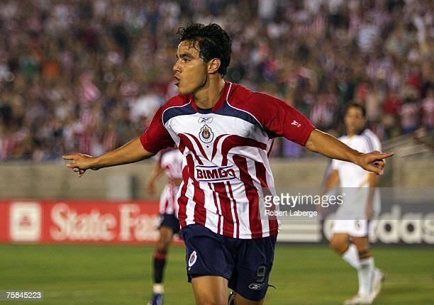 Omar Bravo of CD Chivas de Guadalajara celebrates scoring a goal in the second half against the Los Angeles Galaxy during their SuperLiga match at...