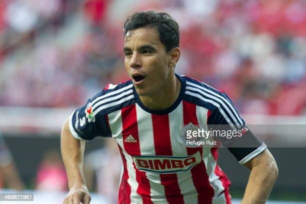 Omar Bravo of Chivas celebrates a socred goal during a match between Chivas and Queretaro as part of the Clausura 2014 Liga MX at Omnilfe Stadium on...