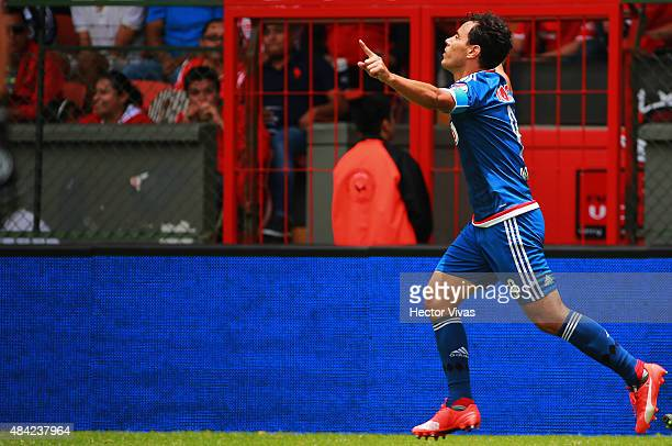 Omar Bravo of Chivas celebrates after scoring the first goal of his team during a 5th round match between Toluca and Chivas as part of the Apertura...
