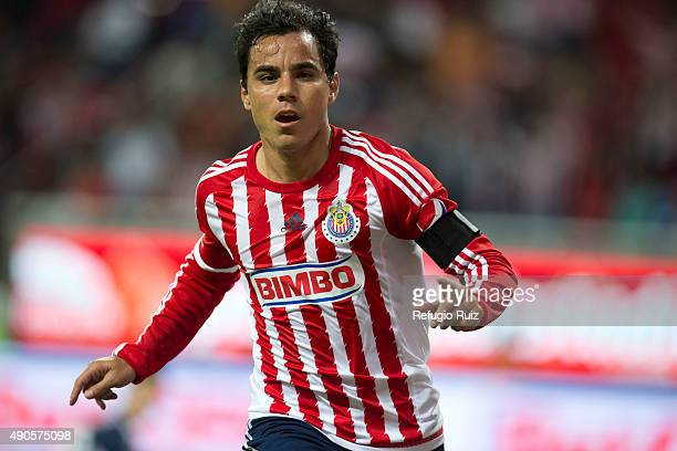 Omar Bravo of Chivas celebrates after scoring the first goal of his team during the 11th round match between Chivas and Monterrey as part of the...