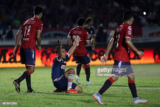 Omar Bravo of Chivas claims a foul during a 1st round match between Veracruz and Chivas as part of the Apertura 2015 Liga MX at Luis 'Pirata' Fuente...