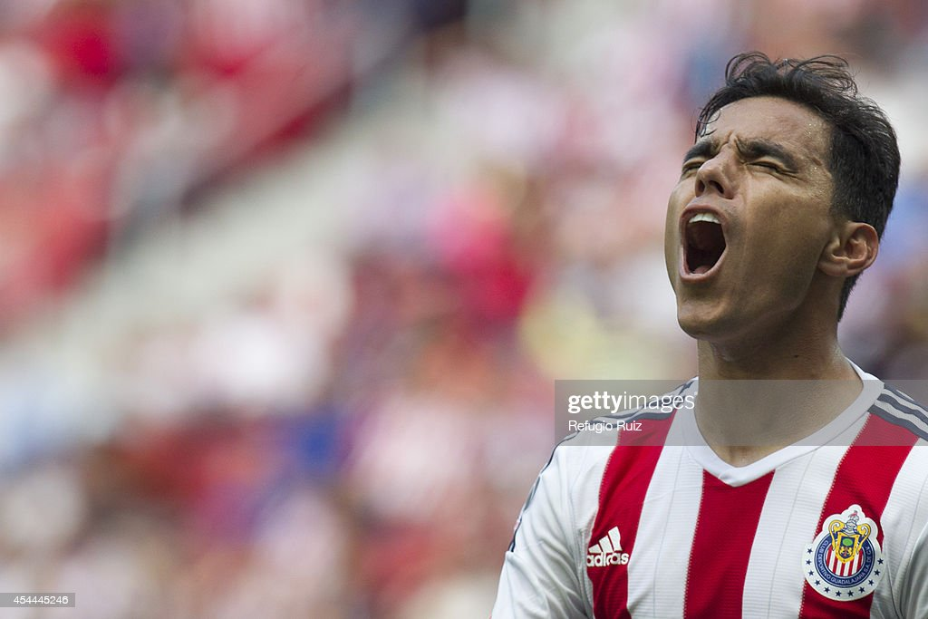 Omar Bravo of Chivas reacts after missing a chance to score during a match between Chivas and Cruz Azul a as part of Apertura 2014 Liga MX at Omnilife Stadium on August 31, 2014 in Guadalajara, Mexico.