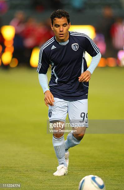 Omar Bravo of Sporting Kansas City warms up prior to the MLS match against Chivas USA at The Home Depot Center on March 19 2011 in Carson California...