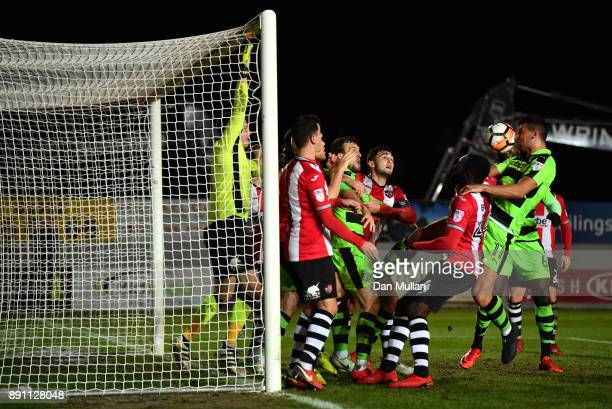 Omar Bugiel of Forest Green Rovers misses a chance during the Emirates FA Cup Second Round Replay between Exeter City and Forest Green at St James...