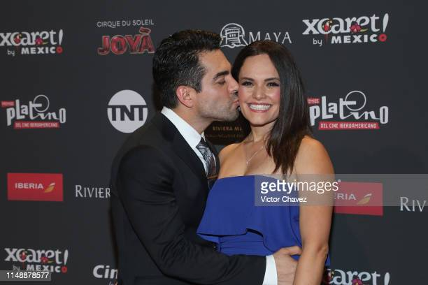 Omar Chaparro and his wife Lucia Ruiz attend the red carpet of the Premios Platino 2019 at Occidental Xcaret Hotel on May 12 2019 in Playa del Carmen...