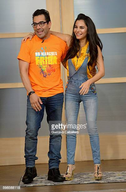 Omar Chaparro and Martha Higareda are seen on the set of 'Despierta America' to promote the film 'No Manches Frida' at Univision Studios on September...