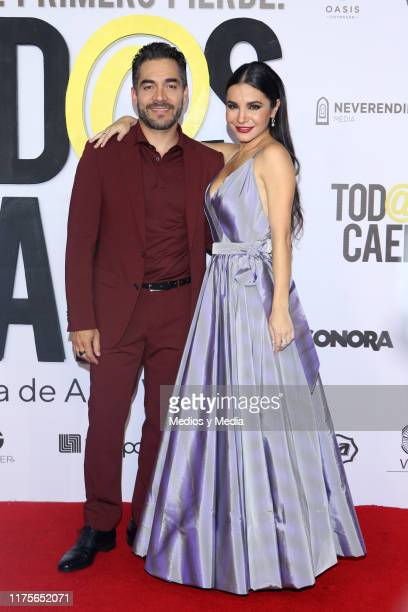 Omar Chaparro and Martha Higareda poses for photos during the red carpet of the movie 'Todas Caen' at Cinepolis Oasis Coyoacan on September 18 2019...