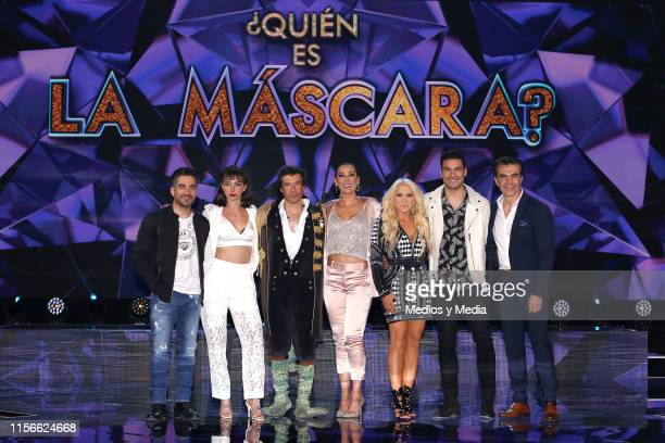 Omar Chaparro Natalia Téllez Miguel Angel Fox Consuelo Duval Yuri Carlos Rivera and Adrián Uribe poses for photos during the presentation of the new...