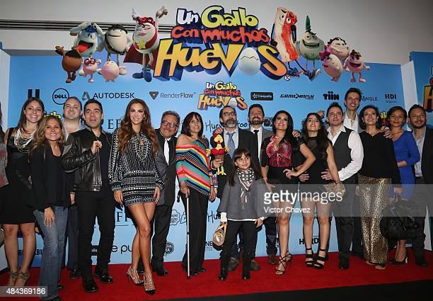 Omar Chaparro Ninel Conde Bruno Bichir and cast members attend Un Gallo Con Muchos Huevos premiere at Cinepolis Plaza Universidad on August 17 2015...