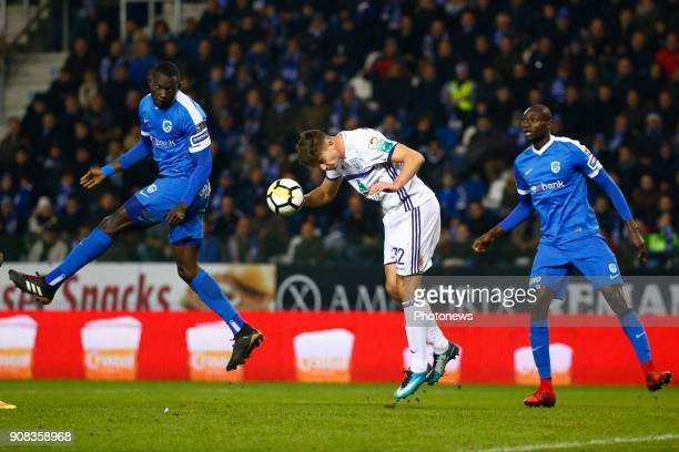 Omar Colley defender of KRC Genk and Leander Dendoncker midfielder of RSC Anderlecht and Ibrahima Seck of Gent during the Jupiler Pro League match...