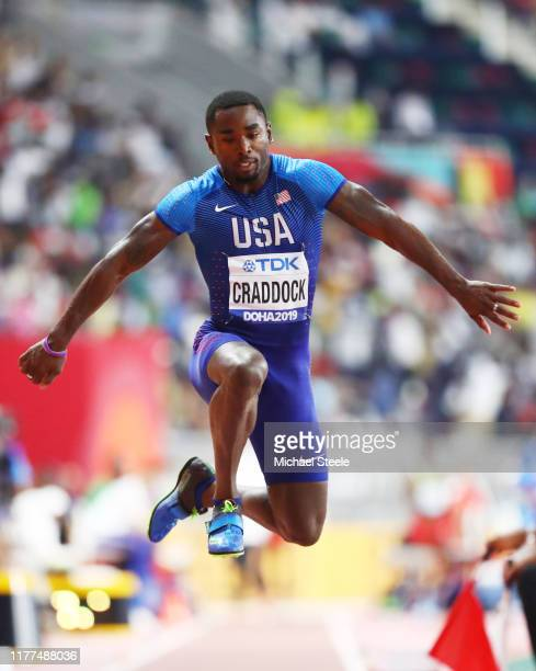 Omar Craddock of the United States competes in the Men's Triple Jump qualification during day one of 17th IAAF World Athletics Championships Doha...