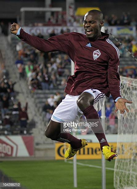 Omar Cummings of the Colorado Rapids celebrates his goal in the fifth minute against the New England Revolution at Dick's Sporting Goods Park on...