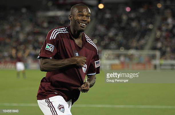 Omar Cummings of the Colorado Rapids celebrates his second goal of the game in the 15th minute against the Philadelphia Union at Dick's Sporting...