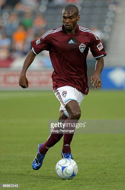 Omar Cummings of the Colorado Rapids controls the ball against FC Dallas during MLS action at Dick's Sporting Goods Park on June 24 2009 in Commerce...