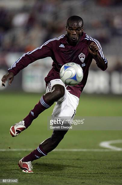 Omar Cummings of the Colorado Rapids controls the ball against the Houston Dynamo on October 4, 2008 at Dicks Sporting Goods Park in Commerce City,...