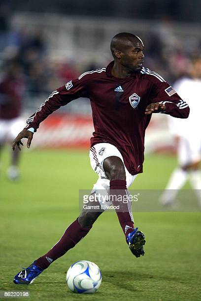 Omar Cummings of the Colorado Rapids controls the ball during the game against the Los Angeles Galaxy on April 25, 2009 at Dicks Sporting Goods Park...