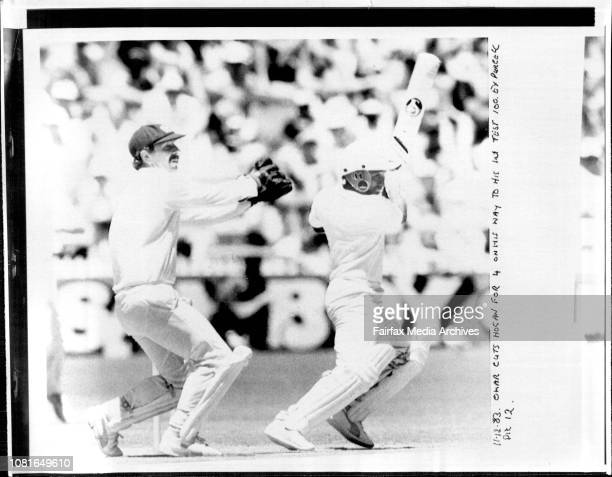 Omar cuts Hogan for 4 on his way to his 1st test 100 December 11 1983