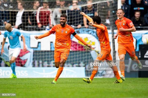 Omar Eddahri of Athletic FC Eskilstuna celebrates after scoring 11 during the Allsvenskan match between Malmo FF and Athletic FC Eskilstuna at...