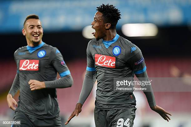 Omar El Kaddouri and Nathaniel Chalobah of Napoli celebrate a goal 10 scored by Nathaniel Chalobah during the UEFA Europa League Group D match...