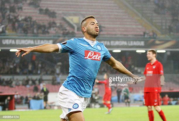 Omar El Kaddouri of Napoli celebrates after scoring goal 10 during the UEFA Europa League Group D match between SSC Napoli and FC Midtjylland at...