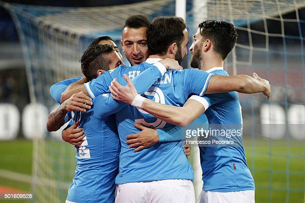 Omar El Kaddouri of Napoli celebrates after scoring goal 10 during the TIM Cup match between SSC Napoli and Hellas Verona FC at Stadio San Paolo on...