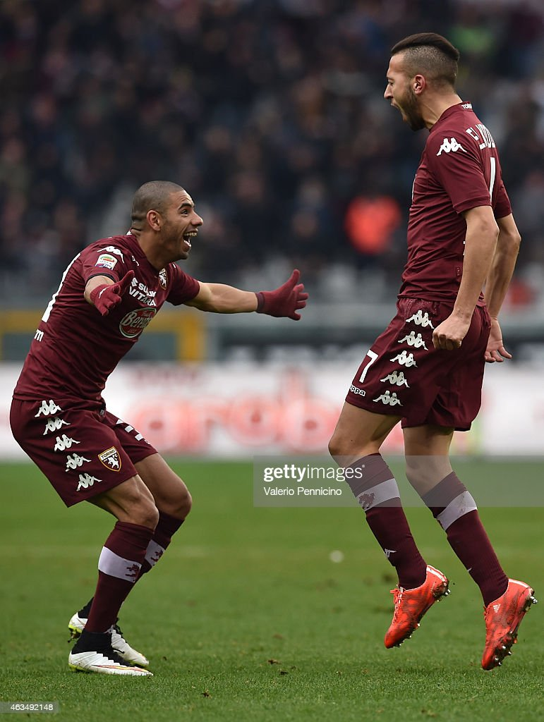 Omar El Kaddouri (R) of Torino FC celebrates his goal with team mate Bruno Peres during the Serie A match between Torino FC and Cagliari Calcio at Stadio Olimpico di Torino on February 15, 2015 in Turin, Italy.