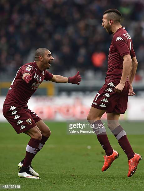 Omar El Kaddouri of Torino FC celebrates his goal with team mate Bruno Peres during the Serie A match between Torino FC and Cagliari Calcio at Stadio...