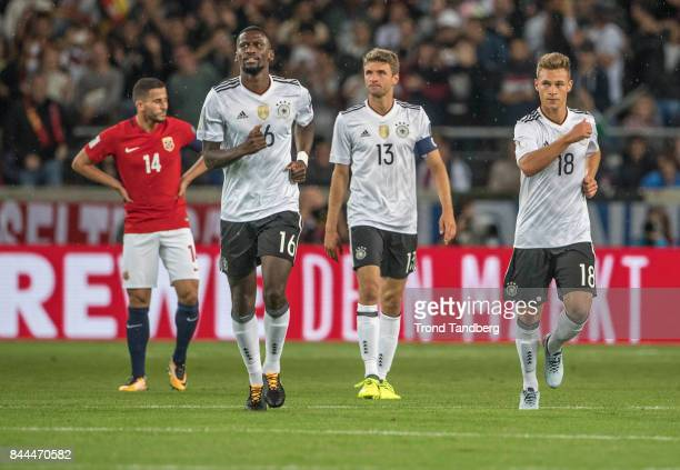 Omar Elabdellaoui of Norway Antonio Rudiger Thomas Muller Joshua Kimmich of Germany during the FIFA 2018 World Cup Qualifier between Germany and...