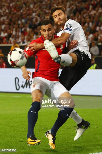 Omar Elabdellaoui of Norway fights for the ball with Jonas Hector of Germany during the FIFA 2018 World Cup Qualifier between Germany and Norway at...