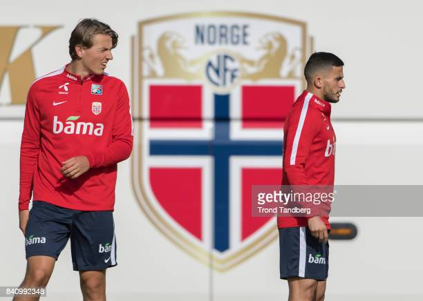 Omar Elabdellaoui Sander Berge of Norway during the FIFA 2018 World Cup Qualifier training between Norway and Azerbaijan at Bislett Stadion on August...