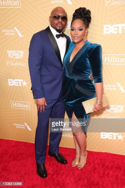 Omar Epps and his wife Keisha Epps attend American Black Film Festival Honors Awards Ceremony at The Beverly Hilton Hotel on February 23, 2020 in...