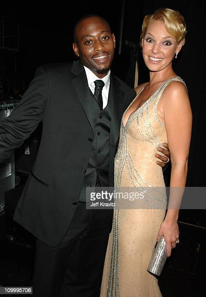Omar Epps and Katherine Heigl during 58th Annual Primetime Emmy Awards Backstage at The Shrine Auditorium in Los Angeles California United States