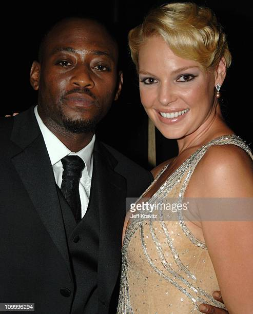 Omar Epps and Katherine Heigl during 58th Annual Primetime Emmy Awards - Backstage at The Shrine Auditorium in Los Angeles, California, United States.