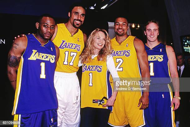Omar Epps Rick Fox Dyan Cannon Derek Fisher and Jay Mohr pose for a photo during an event to unveil new uniforms at the Staples Center on October 1...