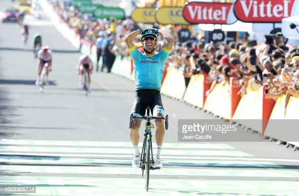 Omar Fraile Matarranz of Spain and Astana Pro Team celebrates winning stage 14 of Le Tour de France 2018 between Saint Paul Trois Chateaux and Mende...