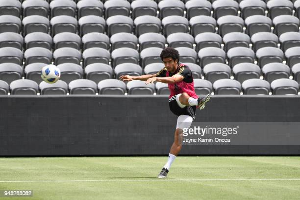 Omar Gaber of the Los Angeles FC practices for the first time on the field at the Banc of California Stadium on April 18 2018 in Los Angeles...