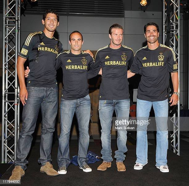 Omar Gonzalez, Landon Donovan, David Beckham and Juan Pablo Angel attend LA Galaxy Fourth of July weekend kick off party at L.A. LIVE on July 1, 2011...