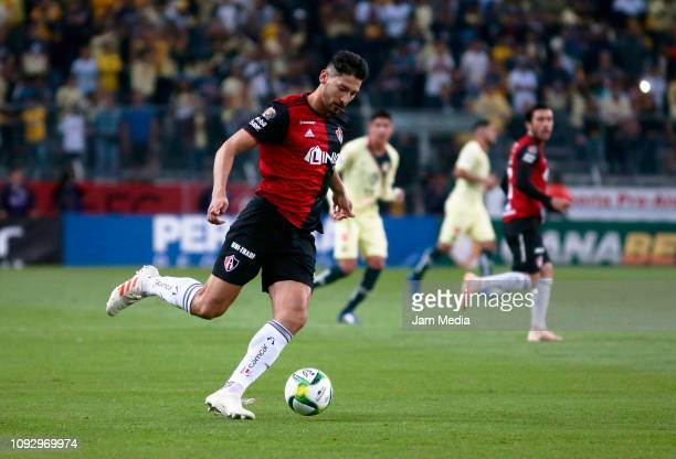 Omar Gonzalez of Atlas kicks the ball during the 2nd round match between Atlas and America as part of the Torneo Clausura 2019 Liga MX at Jalisco...