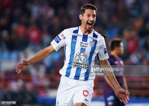 Omar Gonzalez of Pachuca celebrates after scoring the first goal of his team during the semifinal match between Pachuca and Atlante as part of the...