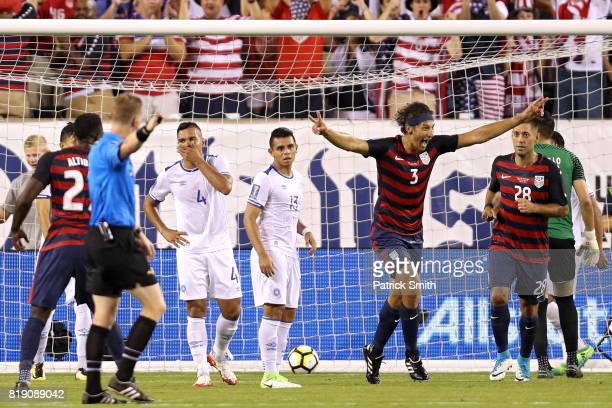Omar Gonzalez of the United States celebrates after scoring a goal against El Salvador in the first half during the 2017 CONCACAF Gold Cup...
