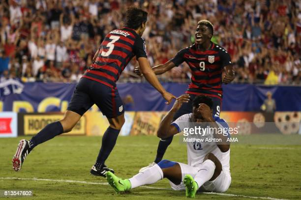 Omar Gonzalez of the United States celebrates scoring a goal to make the score 1-0 during the 2017 CONCACAF Gold Cup Group B match between the United...