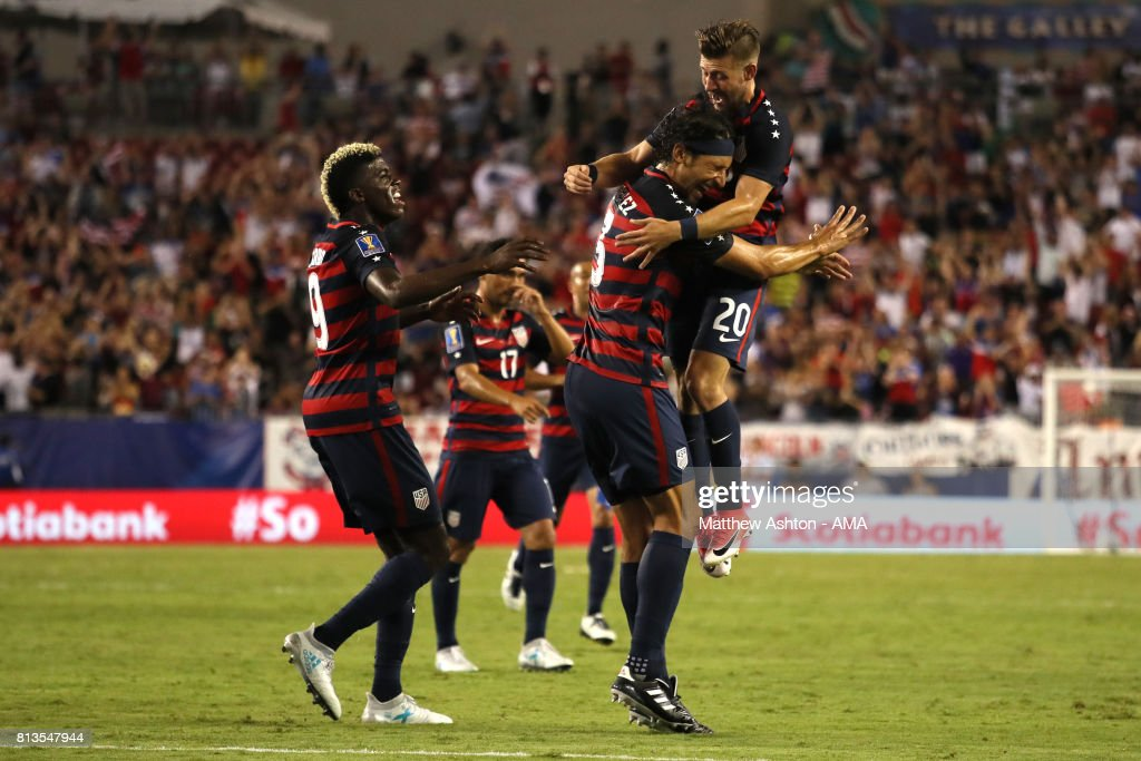 Omar Gonzalez of the United States celebrates scoring a goal to make the score 1-0 during the 2017 CONCACAF Gold Cup Group B match between the United States and Martinique at Raymond James Stadium on July 12, 2017 in Tampa, Florida.