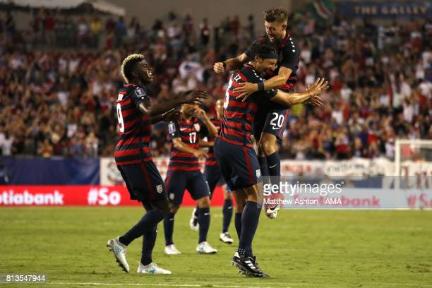 Omar Gonzalez of the United States celebrates scoring a goal to make the score 10 during the 2017 CONCACAF Gold Cup Group B match between the United...