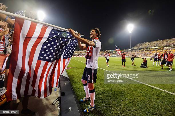 Omar Gonzalez of the United States Men's National Team celebrates a victory over Mexico at Columbus Crew Stadium on September 10 2013 in Columbus Ohio