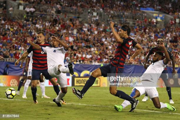 Omar Gonzalez of the United States scores a goal to make the score 10 during the 2017 CONCACAF Gold Cup Group B match between the United States and...