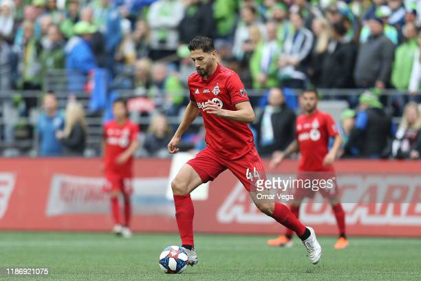 Omar Gonzalez of Toronto FC controls the ball during the match between Toronto FC and Seattle Sounders as part of the MLS Cup 2019 at CenturyLink...