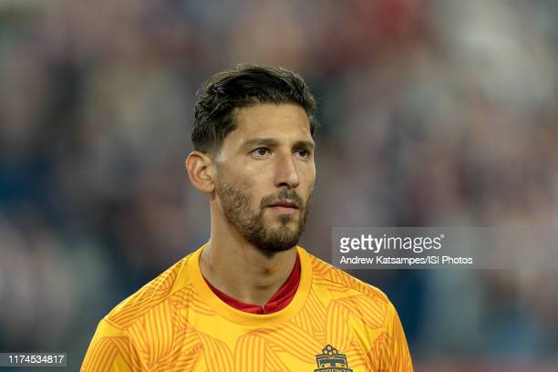 Omar Gonzalez of Toronto FC during a game between Toronto FC and New England Revolution at Gillette Stadium on August 31, 2019 in Foxborough,...