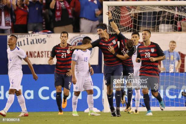 Omar Gonzalez of United States of America celebrates after scoring a goal to make it 1-0during the 2017 CONCACAF Gold Cup Quarter Final match between...