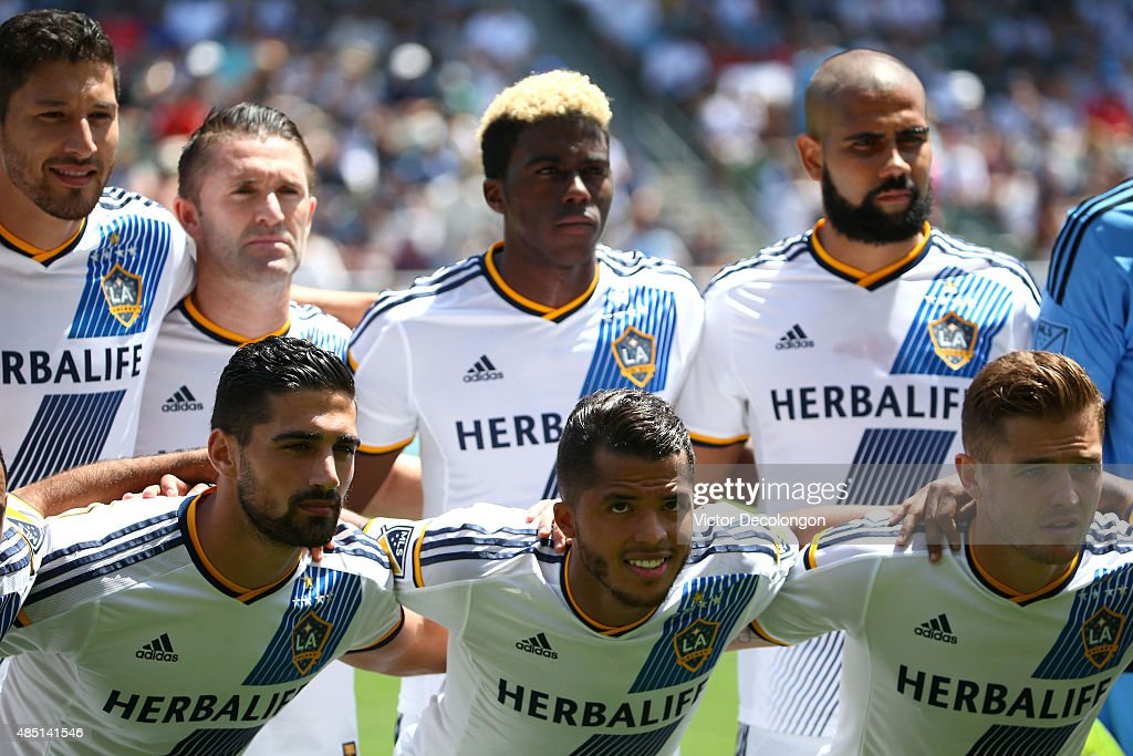 Omar Gonzalez #4, Robbie Keane #7, Sebastian Lletget #17, Gyasi Zardes #11, Giovani Dos Santos #10, Leonardo #22 and Robbie Rogers #14 of Los Angeles Galaxy pose for a group photo prior to their MLS match against the New York City FC at StubHub Center on August 23, 2015 in Los Angeles, California. The Galaxy defeated NYCFC